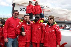 Marine, Ibrahima et Jon accompagnés de Louis Gautron, chargé de mission handicap chez Sopra Steria