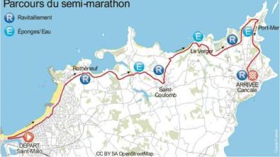 Parcours du semi-marathon depuis Saint-Malo jusque Cancale